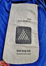 """UNITED JERSEY BANK, Hackensack, NJ: Vintage Canvas Coin Cash Deposit Bag 18.75"""""""