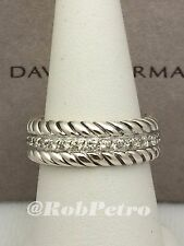 David Yurman Men's Pave Diamonds Cable Band Eternity Ring  - Size 8