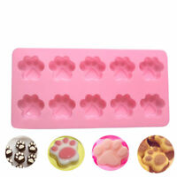 10 Cavity Silicone Dog Paw Shaped Cake Mold Chocolate Candy Baking Mould DIY