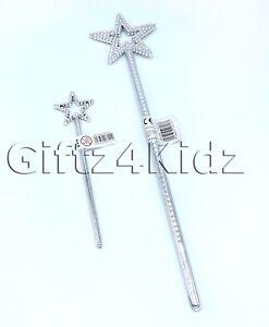 Silver Star Magic Wand Princes Fairy Angel Fancy Dress Costume Kids Girls Party