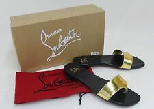 CHRISTIAN LOUBOUTIN Ladies Black & Gold Leather Low Heel Sandals EU36 UK3.5