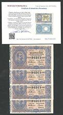 Italy Lire 10 FDS / UNC VITTORIO EMANUELE III Decr 29-07-1918 Periziata RR 2