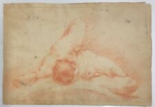 OLD MASTER DRAWING,RED CHALK ON HANDMADE PAPER LAID, ANNOTATION