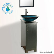 "14"" Eclife Small Bathroom Vanity Cabinet Vessel Glass Sink W/ Faucet Drain Combo"