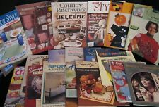 HUGE LOT OF 18 CRAFT JEWELRY CHICKEN SCRATCH CHENILLE MAGAZINES SOFTCOVER BOOKS