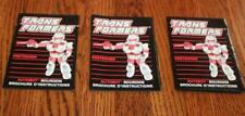 3ct Lot Transformers G1  Autobot Bumblebee French Canadian Instruction Booklets