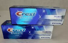 Crest 3D White Luxe Diamond Strong Whitening Toothpaste Brilliant Mint Lot of 2