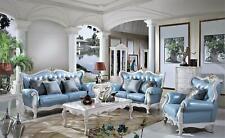 Italienische Luxus Möbel Barock Rokoko Stil Leder Komplett Set Garnitur 3+1+1