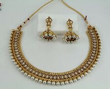 Pearl Ethnic Gold Plated Indian Wedding Bridal Necklace Set Earring Jewelry