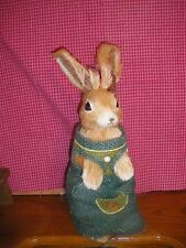 "Country Standing Rabbit in Blue Burlap Dress Shelf Sitter 6.5 x 4.8"" x 11.2"