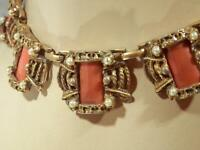 WOWZA Coral Lucite Faux Pearl Ornate Vintage 50's Stunning Unique Necklace 758f1