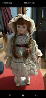 Heritage mint ltd collection porcelain doll Country Girl, 16 Inches With Stand