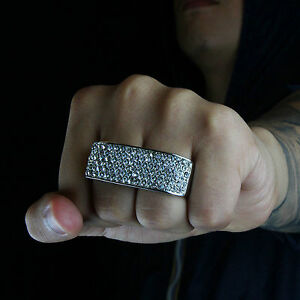 Mens Hip Hop Style Crystal Bar Two Finger Silver Tone Double Ring 10, 11
