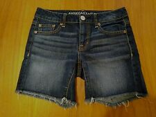 American Eagle Outfitters Junior Girls sz 00 Dark Denim Long Cut-off Shorts NWOT