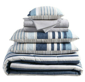 VCNY 6 to 8 Piece Striped Reversible Bed in Bag set Twin XL Queen King Navy NEW
