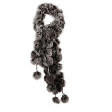 Rabbit Fur Soft Winter Wear Collar Neck Warmer Scarf Wrap Shawl Gray SA