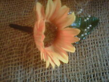 wedding sunflower buttonhole 7  with secure fastening shabby chic.navy ribbon