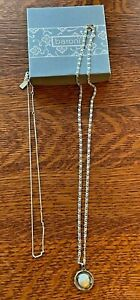 2 BARONI Sterling Silver Mother of Pearl Spiral PENDANT & Chain NECKLACE