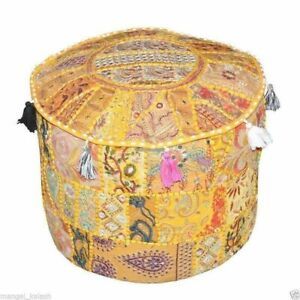 """Patchwork Vintage Indian Round Footstool Cover 14X22"""" Throw Ethnic Ottoman Pouf"""