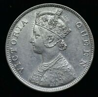 1862 B/II 2/0  INDIA VICTORIA ONE RUPEE SILVER COIN - UNC CONDITION LOW MINTAGE