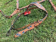 Handpainted / tooled leather Western cob / arab headstall & breast collar set