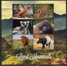 St. Kitts 2016 Land Mammals Orangutan, Lemur, Jacquar, Lion, Tapir Sheet Mint Nh