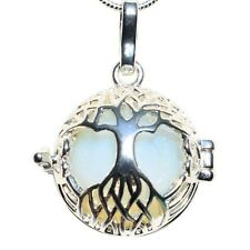 """Tree of Life Pendant Seven Crystal Healing Energy Spheres + 20"""" Silver Chain"""