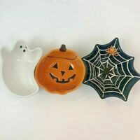 Pottery Barn Halloween Candy Dish Spider Web Ghost Jack O Lantern Bowls 3 Pieces