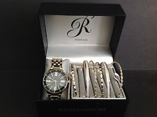 Rampage Ladies Navy & Gold Dial Watch & Bangle Set