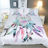 3D Flower Feather 531 Bed Pillowcases Quilt Duvet Cover Set Single Queen King AU