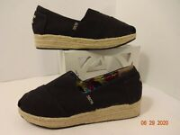 Bobs From Skechers Women's Size 8 W Arch Pillow Espadrille Wedge Shoes Black