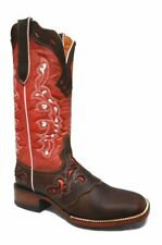 Women's Salmon Cowgirl Western Rodeo Boots Leather REDHAWK 5200 Size 5-10 (B, M)