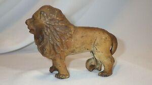 Vintage Cast Iron Lion Figure Coin Bank