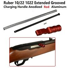 Ruger 1022 10-22 Extended Grooved Round Charging Handle Red Anodized Aluminum
