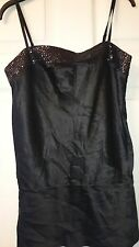 Womens  classic strappy black silk party evening top by Express size S