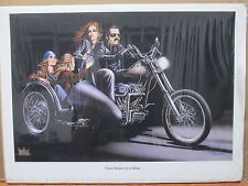 Vintage David Mann Motorcycle and Girls Poster E3