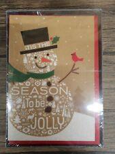 Hallmark Boxed Holiday Christmas Cards, Jolly Snowman, 16 Cards & 17 Envelopes