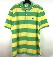 Lacoste Mens Size 6 Large Cotton Crocodile Logo Polo Shirt Green Yellow Striped