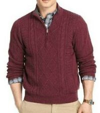 $70-Mens Izod Fig Purple 1/4 Zip Long Sleeve Heavy Cable Knit Sweater- sz M