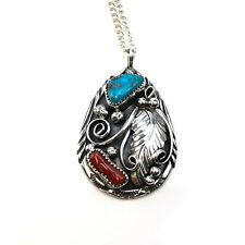 Old Pawn Navajo sterling silver turquoise and coral pendant and necklace