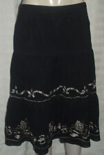 ANN TAYLOR LOFT ~ BLACK PEASANT SKIRT SIZE 6 WITH GOLD EMBROIDERY EUC ~FREE SHIP
