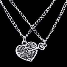 1 Pair Heart Key Locket Necklace Collar Best Friends Pendant Necklace Chain