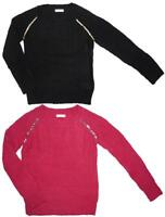 Girls Waffle Knit Sequin Shoulder Seam Crew Neck Knitted Jumper 4 to 14 Years