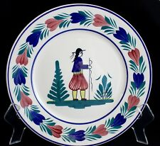 "HB Quimper Brenton Man 11"" Plate F176 D201 France Ceramic Henriot Blue Fish Pole"