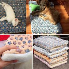 Pet Mat Paw Print Cat Dog Puppy Warm Comfy Fleece Mattres Cushion Bed Blanket UK