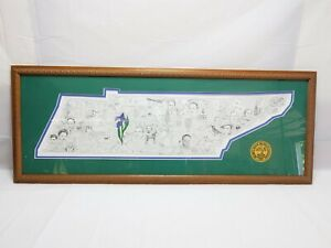 TENNESSEE State Meg '93 Pencil Sketch Signed Numbered Framed Art 42x16 Picture
