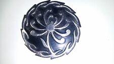 Vintage Crown Trifari Black Enamel Flower Chrysanthemum Silver Tone Brooch