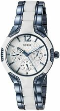 New Guess Ladies U0556L9 Round Dial Stainless White-Blue IP Band Watch