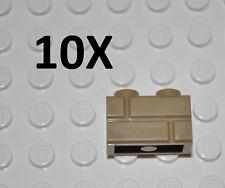LEGO PARTS 10X DARK TAN PROFILE BRICKS 1X2 STUDS/BUILDING BLOCKS/MASONRY PATTERN