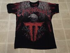 THROWDOWN Eagle Wings SHIRT Mens L Black Red Soft Print Thin Fight Gear MMA UFC